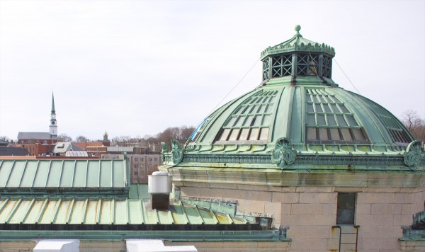Work is almost complete on the new roof for the Bangor Public Library. The 100-year-old copper roof will have pieces of it auctioned off on Jan. 21.