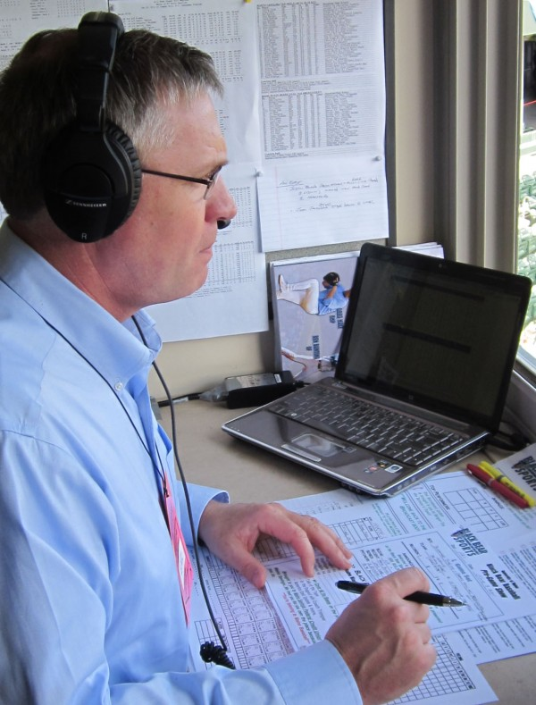 Jim Churchill does radio play-by-play for a University of Maine baseball game in 2011. Churchill's company, SportsNet Maine, is teaming with the Bangor Daily News to stream high school games and highlights on the BDN's website.