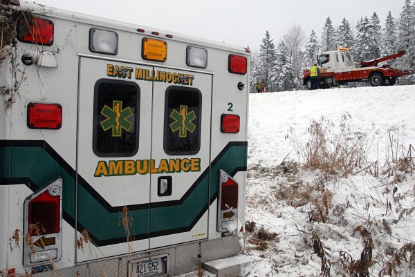 Two ambulance workers and a patient were injured when the ambulance they were in veered off Interstate 95 in Edinburg and rolled over on Dec. 2, 2013.