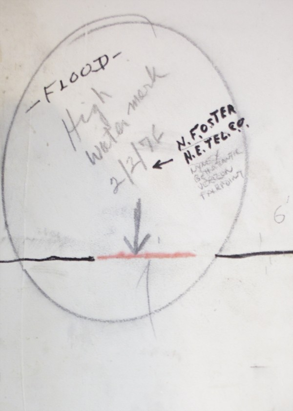 Dale Hustus, the building manager at Merchants Plaza shows a high water mark that was recorded at 6'2&quot on February 2, 1976 on the first floor of the building. Ice build up on the Penobscot River has brought out the Coast Guard Ice Cutter and potentials for flooding in Friday in Bangor.
