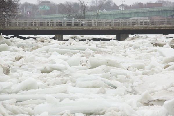 Ice buildup on the Penobscot River has brought out the Coast Guard Ice Cutter and potential for flooding in Friday in Bangor.
