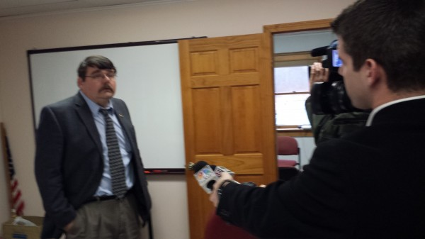 Ronald Ramsay, superintendent of schools for SAD 37, talks with reporters after meeting with parents for more than two hours at the school administration office in Harrington on Monday.