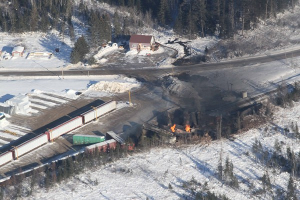 A Canadian National train carrying crude oil from Western Canada derailed in Plaster Rock, 35 miles east of Caribou, Tuesday night.