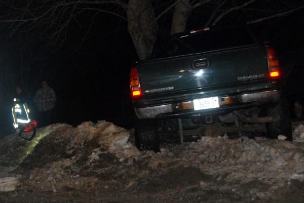 A pickup truck slammed into a tree on Snows Corner Road in Orrington on Sunday, Jan. 12, 2014.