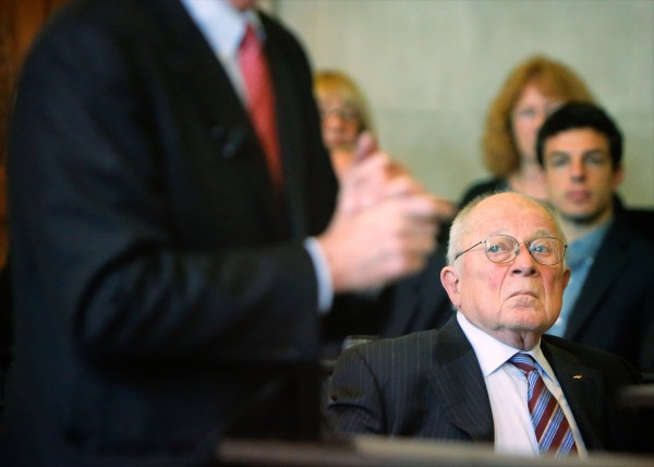 F. Lee Bailey listens as his attorney Peter DeTroy address justices at the Maine Supreme Judicial Court in Portland on Tuesday. The Board of Bar Examiners presented the case to the high court that the celebrity defense attorney should be denied to practice law in Maine because of his past transgressions.
