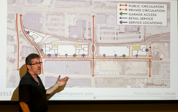 Greg Shinberg of Shinberg Consulting goes over a proposed master plan for the Midtown development project in Portland's East Bayside at a neighborhood meeting on June 5, 2013.