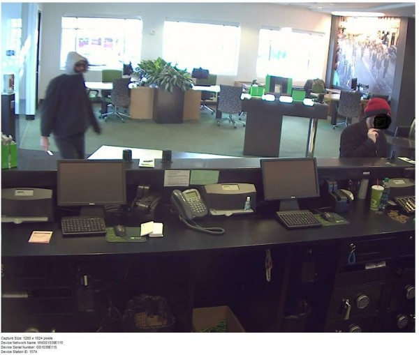 This is an image from a surveillance camera of the robbery Saturday afternoon at the TD Bank at 878 Stillwater Ave., Bangor.