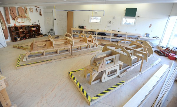 Sailboat forms fill a section of the former Hamilton Marine Seine Loft in Searsport which has been converted to a new boat building classroom, offering students from Searsport District High School a bigger and better shop to learn the art of boat building.