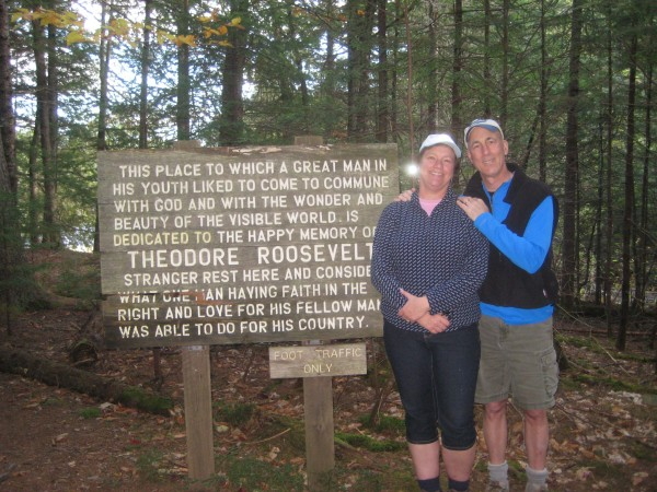 In October 2013 in Island Falls, Sewall House guests Bill Wilson and his wife, Lynne DeMoor of Minnesota, visit Bible Point, the spot where William Sewall often found Thoedore Roosevelt reading his Bible.
