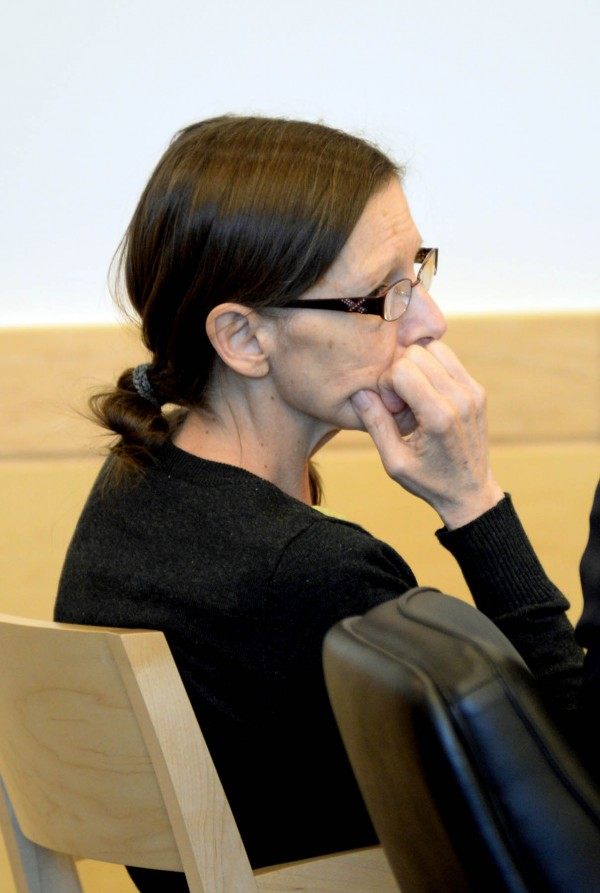 Roxanne Jeskey, 50, who is accused of killing her husband, Richard Jeskey, 2 1/2 years ago, listens during her trial at the Penobscot Judicial Center on Jan. 2.