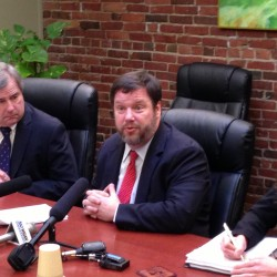 Great Works Internet, commonly referred to as GWI, filed a lawsuit on Monday, Jan. 13, against Maine Fiber Co. over allegations the company misused federal stimulus funds intended to expand rural broadband Internet access. Fletcher Kittredge (center), CEO of GWI, announced the lawsuit at a press conference that same day in Portland. He is joined by Eric Samp (left), GWI's general counsel, and Laurie Boxer-Macomber, an attorney at Kelly, Remmel & Zimmerman representing GWI.