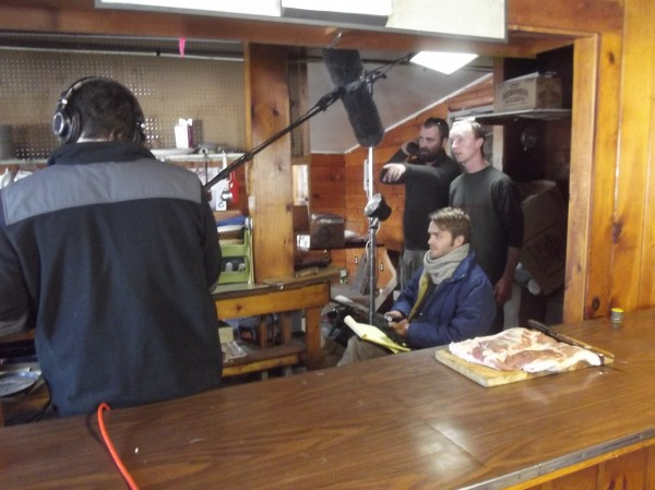 Members of cast and crew prepare to shoot a scene at the old Cloud 9 motel on Route 9 near Wesley on Thursday.