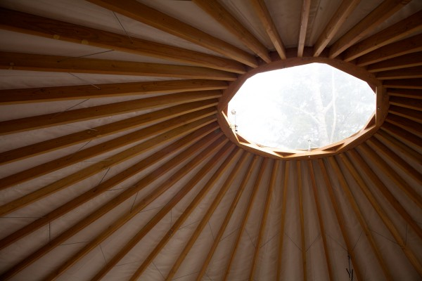 A dome atop a yurt at Maine Forest Yurts in Durham lets in the sunlight. The 100-acre retreat is run by the Crowley family.