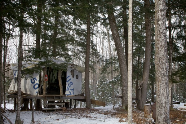 The original, sailcloth-draped yurt built by the Crowley family at Maine Forest Yurts in Durham is not rented out to guests. A nearby wood stove-heated yurt is booked most weekends.