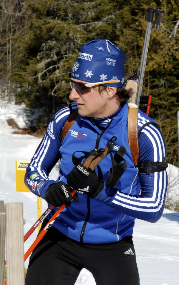 Stockholm's Russell Currier checks his time and scores during a training run at the 10th Mountain Lodge in Fort Kent in March 2010 for the U.S. and North American Biathlon Championships.