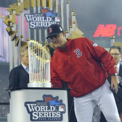 Third base coach Brian Butterfield accompanying World Series trophy to Bangor, Orono; event set for Portland