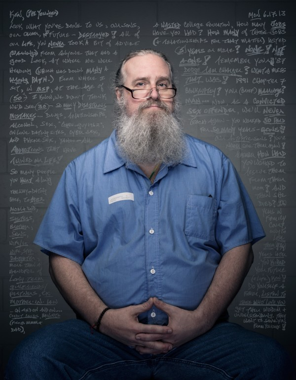 An inmate at Maine State Prison. Part of the show &quotReflections&quot at Engine gallery in Biddeford.