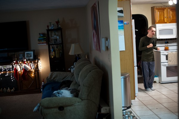 Bradley LaPointe, 19, is shown at the Topsham home where he lives with his parents.