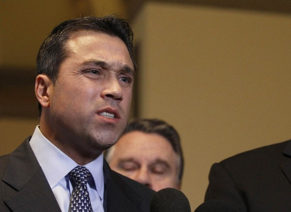 Rep. Michael Grimm, R-N.Y., talks to the media after meeting with House Speaker John Boehner, R-Ohio, to discuss the relief fund hold up in Congress for Hurricane Sandy victims at the United States Capitol in Washington in this January 2013 file photo.
