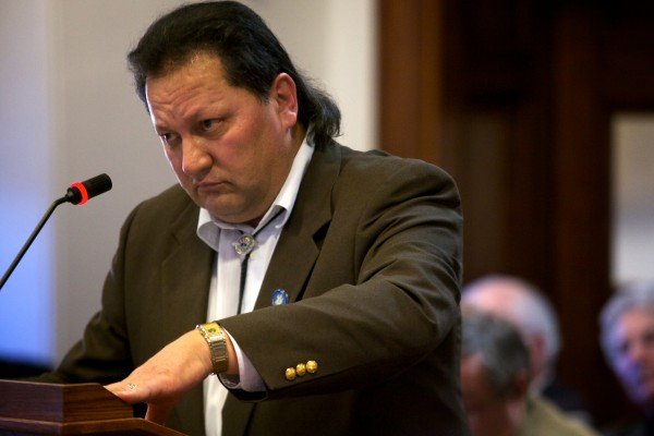 Rep. Henry John Bear, who represents the Houlton Band of Maliseet Indians, speaks in favor of LD 1111 in front of the Legislature's Veterans and Legal Affairs Committee Wednesday in Augusta.