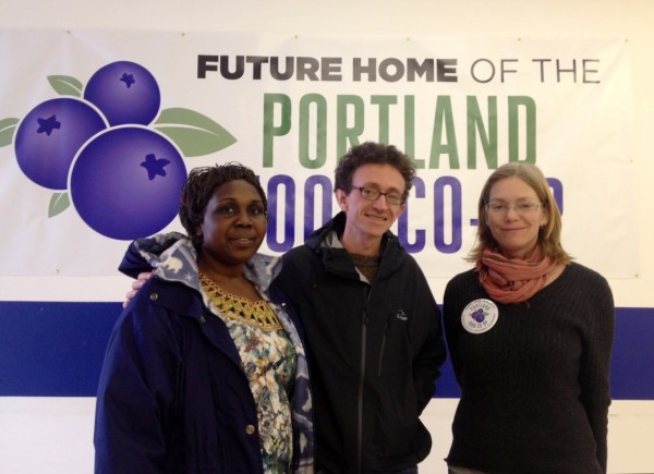 Farmer Christine Pompeo (from left), Portland Food Co-op board president Daniel Ungier and board of directors member Claire Houston stand in their new Congress Street location.
