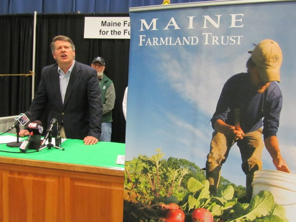 John Piotti, president and CEO of the Maine Farmland Trust, discusses the organization's progress on raising $50 million by the end of 2015 to protect farmland in Maine and provide technical assistance to farmers. Piotti announced phase two of the project during an agricultural trade show on Tuesday, January 7, 2014, in Augusta.
