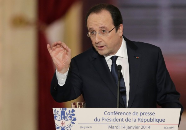 French President Francois Hollande answers a question during a news conference at the Elysee Palace in Paris on Tuesday.