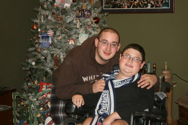Kennebunk High School student Jacob Gould, right, is seen recently with his brother, Mike. Jacob Gould, who battled a rare form of muscular dystrophy, died this week.