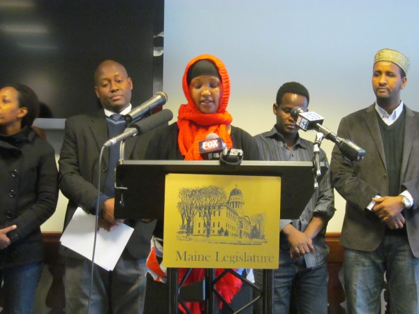 Fatuma Hussein, director of United Somali Women of Maine, tells reporters on Friday, January 10, 2014 in Augusta how a proposal by the Department of Health and Human Services to end general assistance to immigrants would devastate the immigrant community.