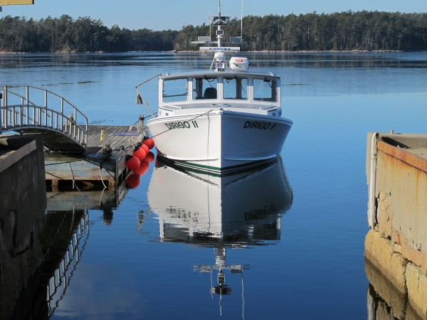 Dirigo II, a new Marine Patrol vessel, sits tied up to a dock Wednesday at Abel's Boatyard on Mount Desert Island. The boat was launched Wednesday after being built at a cost of $410,000.