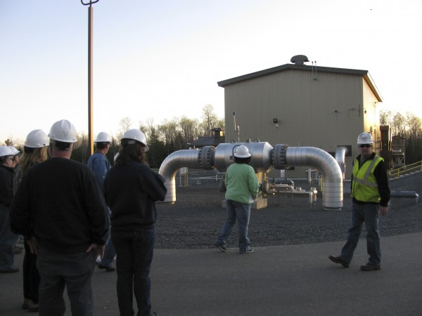 Steve Leary, an area supervisor for Maritimes & Northeast Pipeline, leads a group of Searsmont residents on a tour of the New England Road natural gas compressor station in this April 2010 file photo.