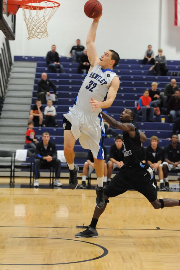 Tyler McFarland of Bentley University goes in for a layup during a recent game. The sophomore from Rockport is the Falcons' leading scorer and rebounder.