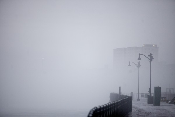 A thick fog covered the Penobscot River and the waterfront Tuesday afternoon in Bangor.