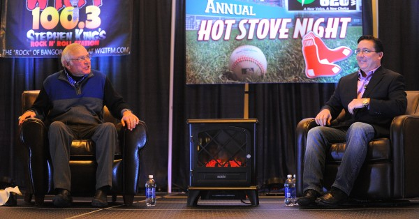 Boston Red Sox broadcasters Joe Castiglione (left) and Dave O'Brien take part in WZON's Hot Stove session at the Cross Insurance Center on Monday evening.