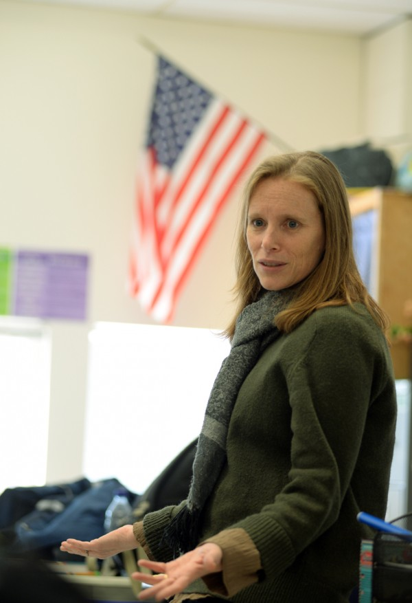 Searsport District High School teacher Leanne Groening in her psychology class on Thursday.