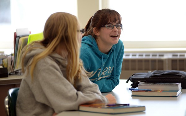 Searsport District High School junior Alivia Cross joins a discussion in her psychology class on Thursday.