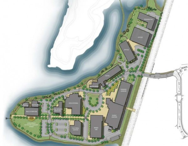This image, turned over to city planning staff by developers of a proposed $100-plus-million project, shows the layout of buildings planned for Portland's Thompson's Point peninsula.