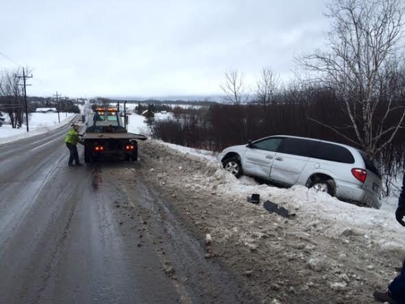 Jared Peterson of Caribou, who was operating a 2005 Dodge Caravan, slid off an icy stretch of Route 163 in Mapleton on Monday. Peterson's van sustained only  minimal damage.