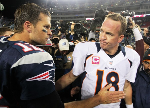 New England Patriots quarterback Tom Brady (12) shakes hands with Denver Broncos quarterback Peyton Manning (18) following the game at Gillette Stadium on Oct. 7, 2012.