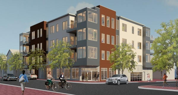 This rendering, distributed by NewHeight Group, depicts a four-story mixed-use building the developers hope to construct at 118 Congress St. on Portland's Munjoy Hill. The developers are working with Archetype and TLA architecture firms.