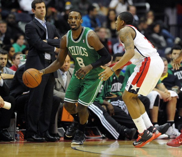 Boston Celtics small forward Jeff Green (8) dribbles the ball as Washington Wizards shooting guard Bradley Beal (3) defends during the first half at the Verizon Center in Washington Wednesday night.