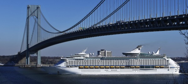 Royal Caribbean's Explorer of the Seas passes under the Verrazano-Narrows Bridge as it enters New York harbor Jan. 29, 2014.The Explorer of the Seas cut short its Caribbean cruise following an outbreak of gastrointestinal illness, according to the U.S. Centers for Disease Control and Prevention.