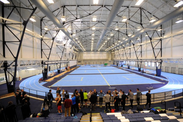 The University of Maine Field House in Orono Wednesday. The first phase of the renovation of the Field House and Memorial Gym is nearly complete.