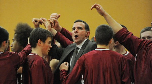 Bangor head coach Ed Kohtala calls a timeout during first-quarter action against Hampden on Tuesday.