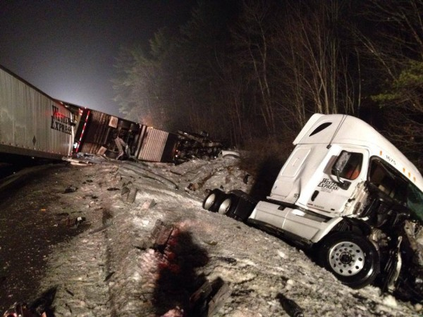 An early morning crash involving four tractor-trailers and a car shut down southbound lanes at mile 55 in Falmouth.