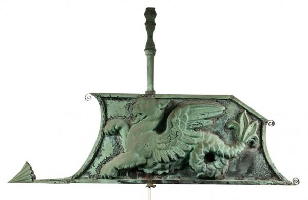 19th Century double-sided copper gryphon form weathervane from a Scarborough, ME home to be sold at Thomaston Place Auction Galleries on Feb. 8 & 9