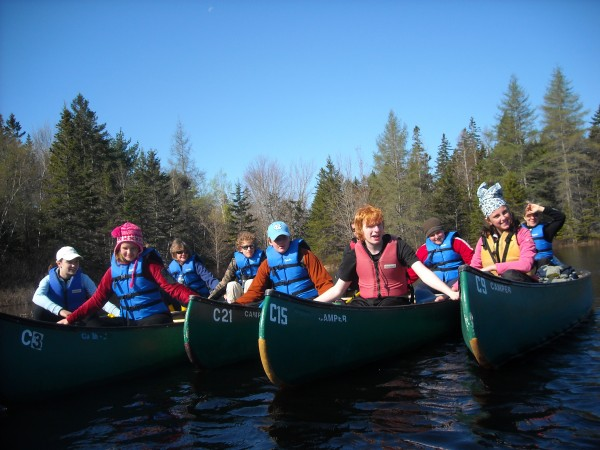 """""""Teen Trekkers and their mentors form a flotilla while canoeing at Acadia National Park."""""""