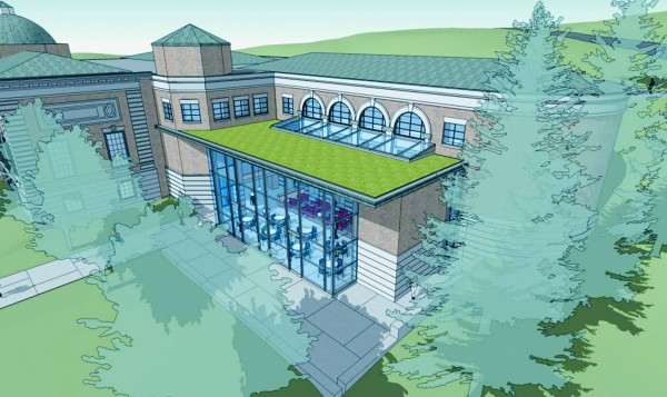 With a $3 million fundraising effort nearing completion, Bangor Public Library will undergo major renovations starting in late spring 2014. The renovations will include the addition of a two-story glass atrium to the library's newest wing; a &quotgreen&quot roof will top the atrium.