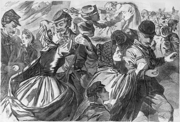 Under a War Department policy established to help retain combat veterans in the Union Army ranks, veterans who re-enlisted for three years or the duration of the Civil War would receive Army-paid furloughs to their homes. Artist Winslow Homer depicted these joyful Union veterans reaching their final destination while on a 30-day furlough; one soldier lifts a baby whom he probably did not see born.
