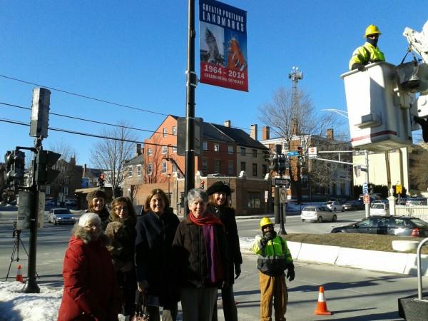 New landmark banners installed Thursday on Spring Street in Portland.